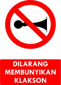Dilarang Membunyikan Klakson